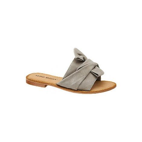 Šedé kožené pantofle Vero Moda