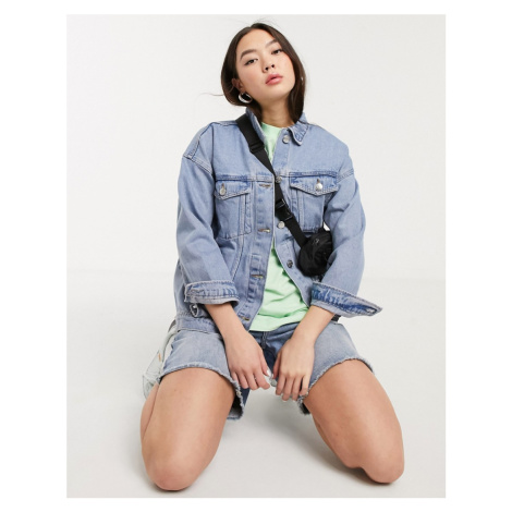 Monki Cathy oversized denim jacket in blue