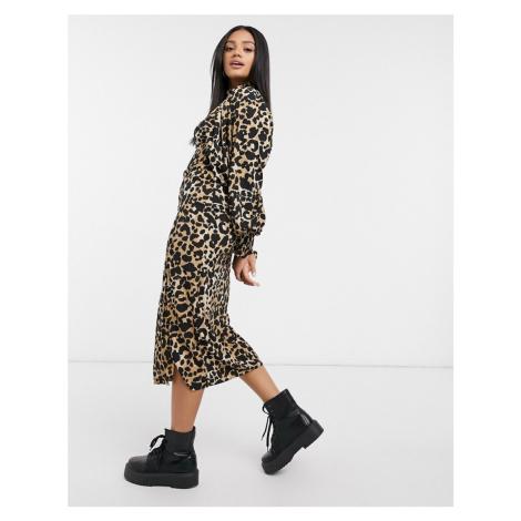 ASOS DESIGN shirred neck midi dress with shirred cuffs in leopard print-Multi