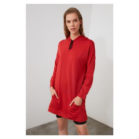 Trendyol Red Long Oversize Knitted Sweatshirt