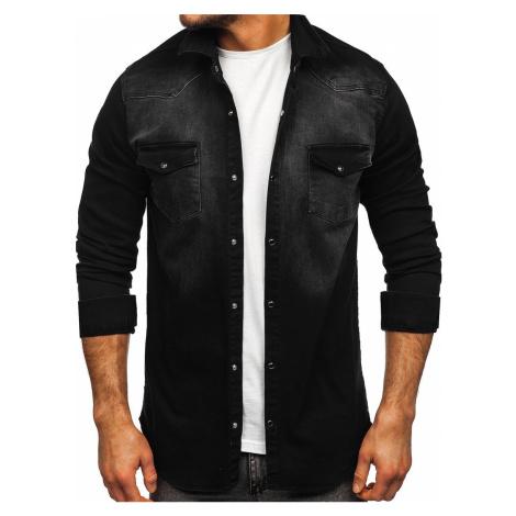 Černá pánská džínová košile s dlouhým rukávem Bolf R704 RWX