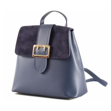 Elegantní dámský kožený batoh s klopnou tmavě modrý, 29 x 14 x 28 (777-41CC)