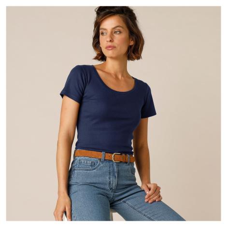 Blancheporte Jednobarevné tričko s krátkými rukávy, bio bavlna námořnická modrá