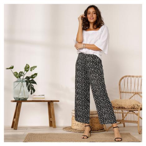 Blancheporte 3/4 široké kalhoty s potiskem černá/bílá