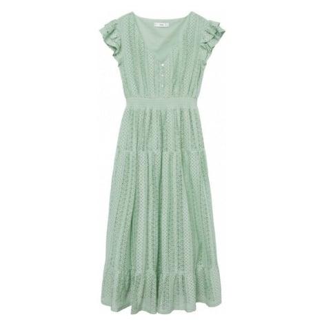 MANGO Šaty 'madelen' pastelově zelená