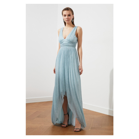 Trendyol Light Blue Waist Detail Evening Dress & Graduation Dress