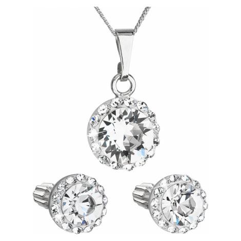Sada šperků s krystaly Swarovski náušnice, řetízek a přívěsek bílé kulaté 39352.1 Victum