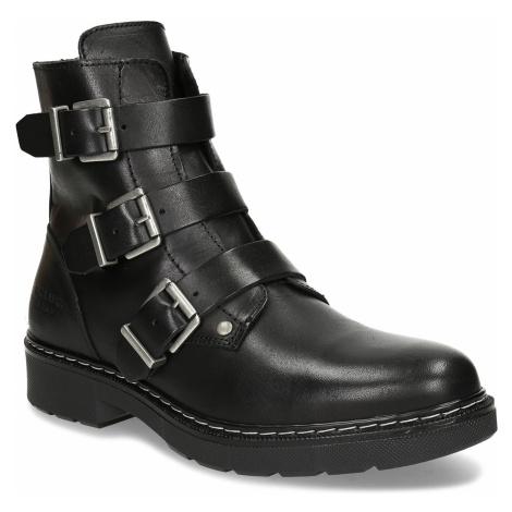 Černá dívčí kožená kotníková obuv s výraznými přezkami Bullboxer