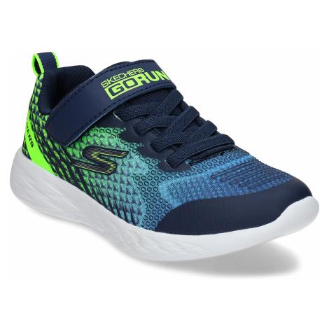 Modré dětské tenisky se zelenými prvky a suchým zipem Skechers