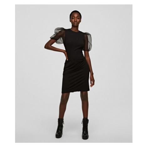 Šaty Karl Lagerfeld Organza Sleeve Punto Dress - Černá