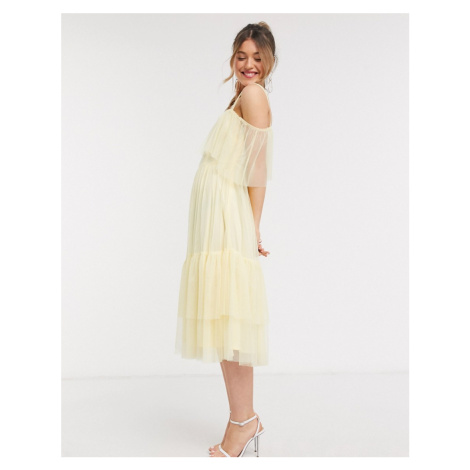 Anaya With Love frilly one shoulder tiered midi dress in yellow