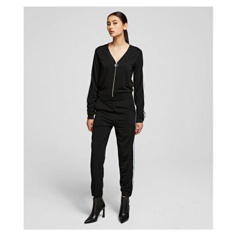 Šaty Karl Lagerfeld Crepe Jersey Jumpsuit - Černá