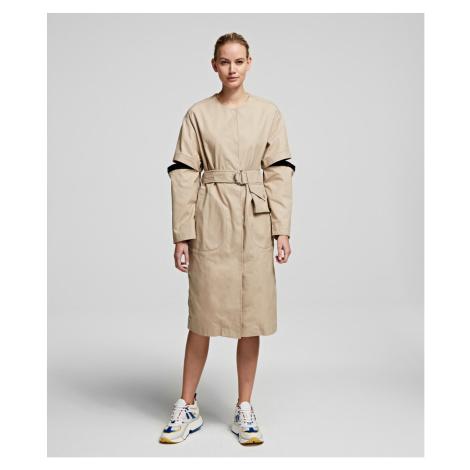 Kabát Karl Lagerfeld Soft Cotton Coat W/ Cut Out - Hnědá