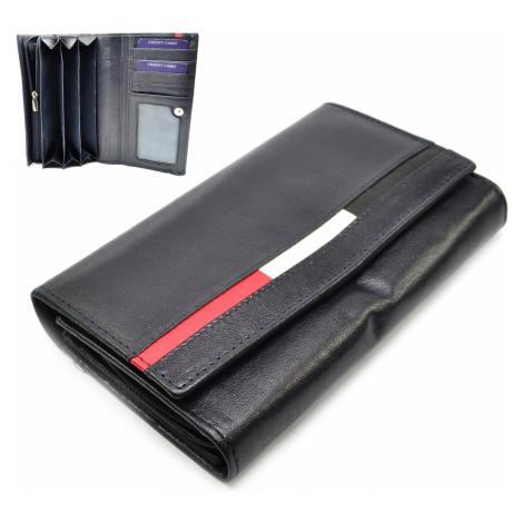 Modrá velká dámská kožená peněženka Cavaldi