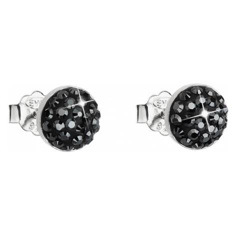 Evolution Group Stříbrné náušnice pecka s krystaly Swarovski černé kulaté 31136.5