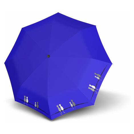 Modrý skládací automatický dámský deštník Deyen Doppler