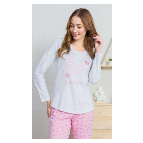 Dámské pyžamo dlouhé Srdíčka, XL, světle šedá Vienetta Secret