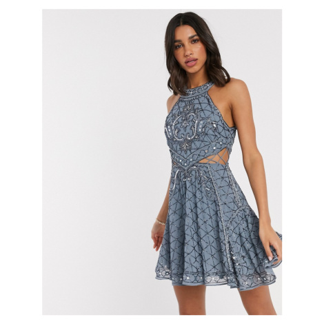 ASOS DESIGN high neck mini dress with cut outs and godets in embellishment-Blue