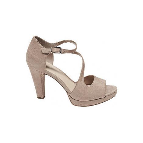 Růžové sandály na podpatku Graceland