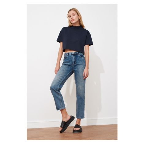 Trendyol Blue High Waist Narrow Straight Jeans