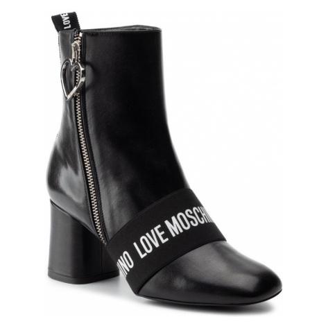 Černé kožené polokozačky - LOVE MOSCHINO