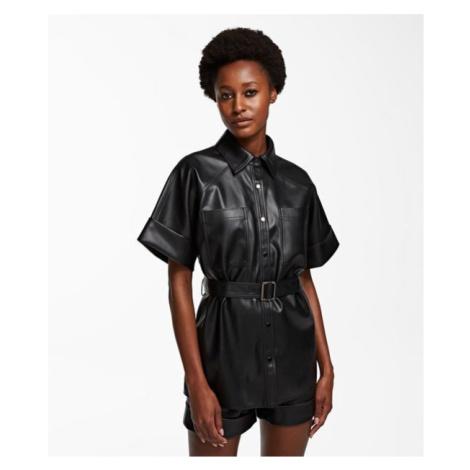 Košile Karl Lagerfeld Faux Leather Cargo Shirt - Černá