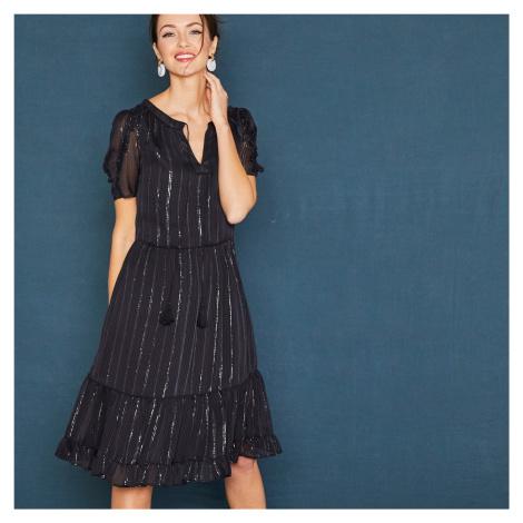 Blancheporte Krátké černé šaty s krátkými rukávy černá