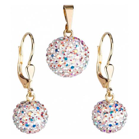 Zlatá 14 karátová sada šperků s krystaly Swarovski náušnice a přívěsek AB efekt 939072.2 Victum