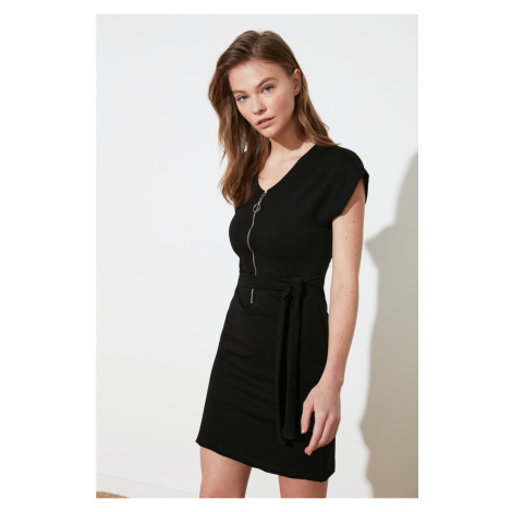 Trendyol Black Zip Knitted Dress