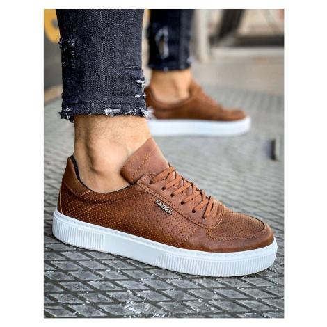 Brown men's sneakers ZX0147 DStreet
