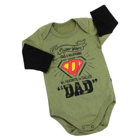 Kojenecké body s dlouhým rukávem Super Dad, zelená