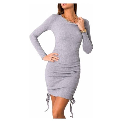 šedé přiléhavé šaty s dlouhým rukávem Rue Paris