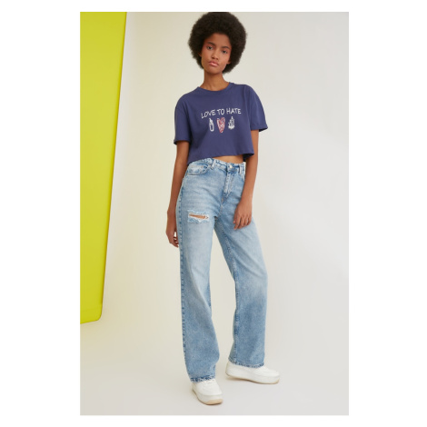 Trendyol High Waist with Blue Ripped Detail 90's Wide Leg Jeans
