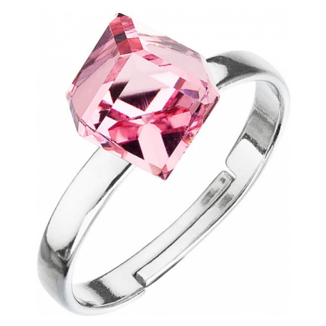 Evolution Group Stříbrný prsten s krystaly růžová kostička 35011.3