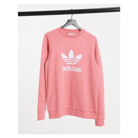 Adidas Originals adicolor large trefoil sweatshirt in rose pink