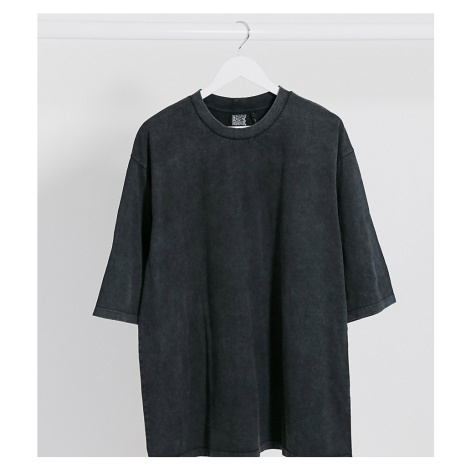 Reclaimed Vintage inspired boxy t-shirt with high neck in charcoal-Grey