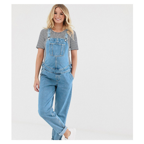 ASOS DESIGN Maternity denim dungaree in midwash blue
