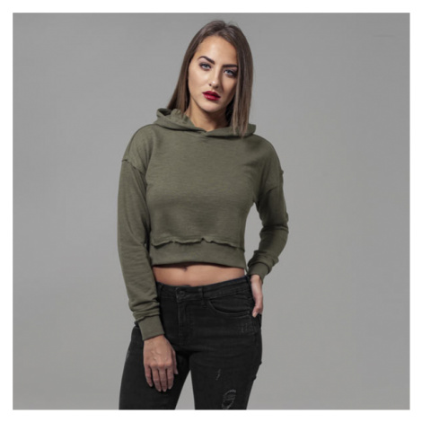 Urban Classics Ladies Short Slub Terry Hoody olive