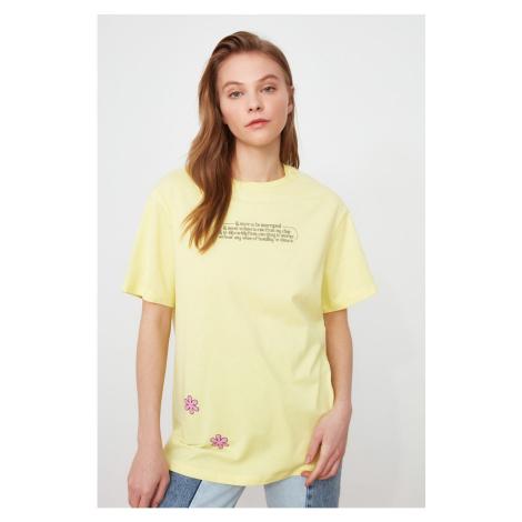Trendyol Yellow Printed Boyfriend Knitted T-Shirt