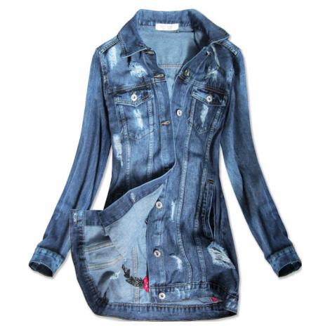 Světle modrá dlouhá dámská džínová oversize bunda (C089)