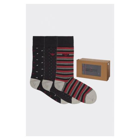 Emporio Armani Underwear Emporio Armani dárkové 3- balení pánské ponožky - černá/červená