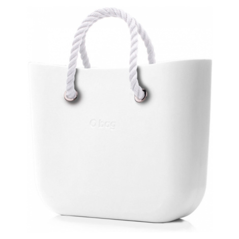 O bag kabelka MINI Bianco s bílými krátkými provazy
