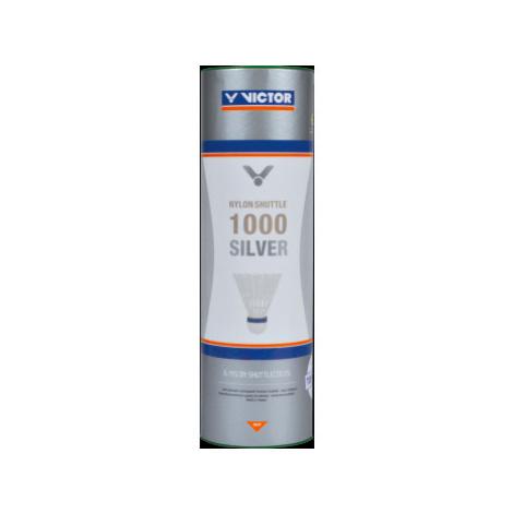 Badmintonové míče Victor Nylon Shuttle 1000 Silver - White 6 ks, červený proužek (do 14°C)