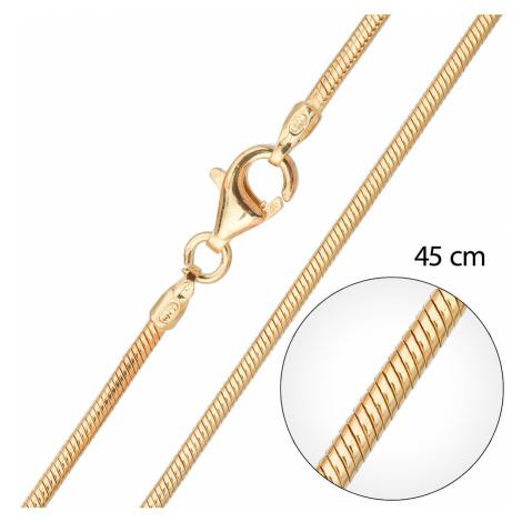 Stříbrný pozlacený řetízek kulatý délka 45 cm 30003 Victum