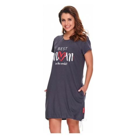 DN Nightwear Kojicí noční košile Best mom 2 grafit