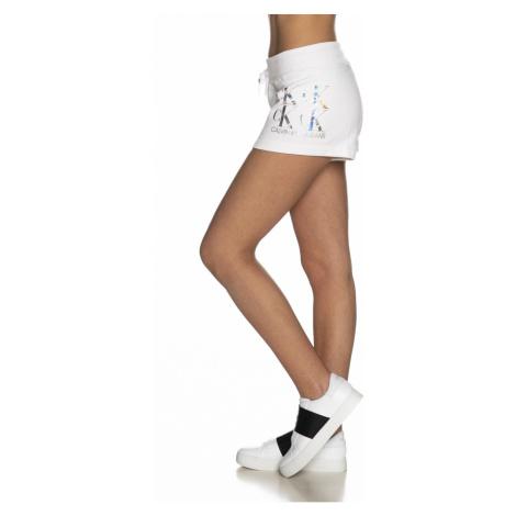 Calvin Klein Calvin Klein Jeans dámské bílé teplákové kraťasy SHINE LOGO KNIT SHORT