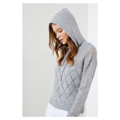 Trendyol Grey Hooded Knitwear Sweater