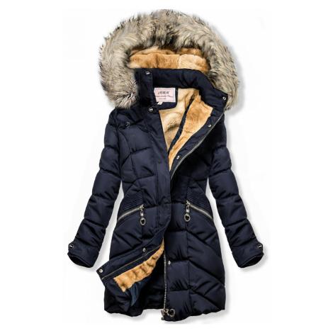 Modrá zimní bunda s odnímatelnou kapucí Butikovo