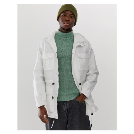 ASOS DESIGN parka jacket in white