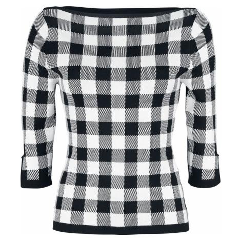 Banned Retro Kostkovaný pletený svetr Dívcí svetr cerná/bílá